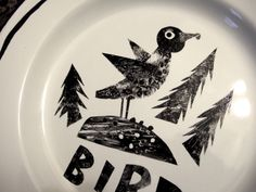 Enamelware plate decorated with ceramic ink. From the 'Hansel & Gretel' series