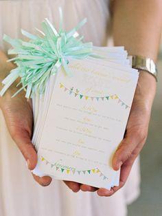 Bunting wedding ceremony programs (Susan Dean)
