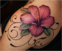 Gorgeous Yet Delicate Flower Tattoo Designs Hawaiian Flower Tattoos, Tribal Flower Tattoos, Hibiscus Flower Tattoos, Plumeria Tattoo, Delicate Flower Tattoo, Lily Flower Tattoos, Beautiful Flower Tattoos, Hawaiian Flowers, Lotus Flower
