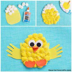 Cotton Ball Handprint Chick Craft For Kids - Fall Crafts For Kids Easy Crafts To Make, Easy Fall Crafts, Easter Crafts For Kids, Toddler Crafts, Preschool Crafts, Holiday Crafts, Easter Projects, Easter Ideas, Toddler Activities
