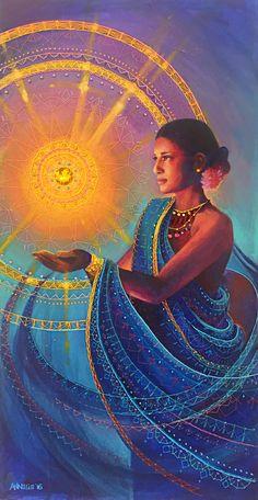 The mystical, fantastical, spiritual art of Annelie Solis. Paintings & other creations. About the artist. Illustrations, Illustration Art, Art Visionnaire, Goddess Art, Divine Goddess, Sacred Feminine, Visionary Art, Sacred Art, Tantra