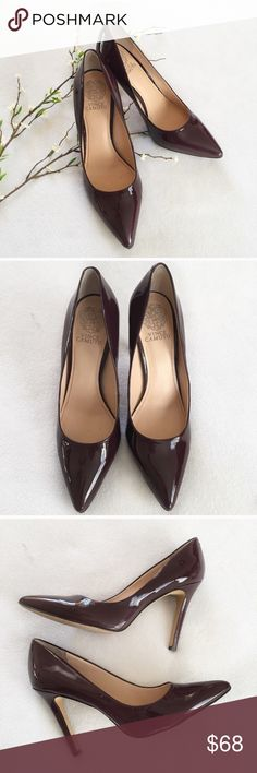"""Vince Camuto Kain Pumps Stunning and classy! • Beautiful deep burgundy in color • 4"""" heel • patent leather in great condition • only flaws are minor scuff on left and two punctures where sensors were punched.  📷 follow me on Instagram @sierrabarrie_poshmark Vince Camuto Shoes Heels"""
