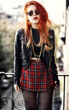 yes to the outfit, but that hair isnt permed and too recent to be real grunge. and those gold chains are a fail as well...: