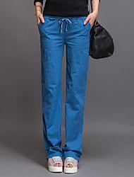 Pantaloni Da donna A sigaretta Casual Lino/Misto cotone Media elasticità