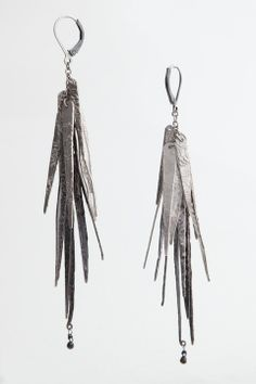 """Fringe Ticklers"" hand fabricated earrings with oxidized sterling silver and black diamond briollette by, Melanie Clarke"