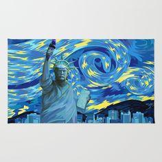 Liberty Parody starry night RUG @pointsalestore Society6 #rugs #digital #art #painting #ink #watercolor #popart #comic #illustration #liberty #trump #president #donaltrump #starrynigt #vangogh #americafirst #leader #victory #freedom #scifi #retro #buildings