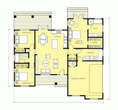 """Hoy les traigo los planos de una casa con una distribucion tipicamente americana. Lo que llaman """"open concept"""" que seria concepto abierto… esto quiere decir que los ambientes sociales no tienen separaciones importantes y a estos se les suma la cocina, que en otros tiempos era considerado un ambiente privado. A esto le sumamos la … Continúa leyendo Casa de una planta, tres dormitorios y 149 metros cuadrados"""