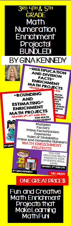 I have bundled three of my numeration math enrichment products. I have included enrichment projects for multiplication and division facts, rounding and estimating numbers, prime/composite numbers, factors, multiples and more. The fun and creative enrichment projects in this bundle provide an authentic opportunity to integrate math with creative writing and research.   The enrichment projects in this bundle are great for early finishers, advanced learners and whole class fun.$