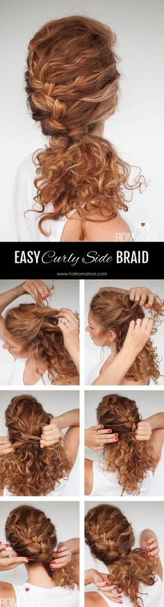 Hair Romance - Easy everyday curly hairstyle tutorials – the curly side braid hairstyles everyday Easy everyday curly hairstyle tutorials – the curly side braid Curly Hair Tips, Braids For Long Hair, Short Curly Hair, Curly Hair Styles, Updo Curly, Hairstyles For Frizzy Hair, Style Curly Hair, Hair Romance Curly, Thick Hair