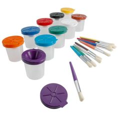 "Non-Spill Paint Pots & Brushes Set ""non-spill"""