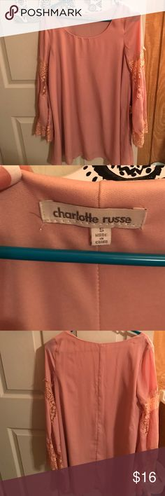 Pink bell sleeve dress Charlotte Russe. Size small. Only worn once. Pink with lace embellished bell sleeves Charlotte Russe Dresses Long Sleeve