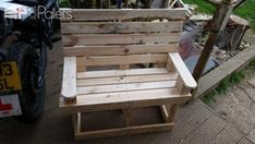 #Garden, #Kids, #PalletBench, #RecyclingWoodPallets Used two pine pallets for this which took about an hour to pull apart using a fencing bar and hammer.Total build time was 3 hours.No need for dimensions as this would scale up or down for small kids or adults