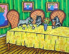 SCHNAUZER-tea-party-11x14-art-PRINT-tea-room-decor-modern-dog-art-folk#Teadaw#Decor