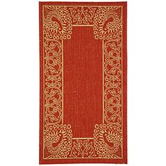 2'x3'7 @Overstock - Indoor/outdoor rug features transitional Persian and European designs Floor rug highlights a red background and a natural-colored pattern spread across it Area rug is perfect for any patio, deck, kitchen, or any outdoor usehttp://www.overstock.com/Home-Garden/Indoor-Outdoor-Abaco-Red-Natural-Rug-2-x-37/3899074/product.html?CID=214117 $19.49