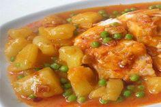 estilo-galego-de-pescada Portuguese Recipes, Portuguese Food, Peruvian Recipes, When I Grow Up, Fish Recipes, Fruit Salad, Macaroni And Cheese, Food To Make, Chicken