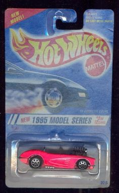 Hot Wheels 1995-3 of 12 PINK '58 Corvette Coupe Model Series 1:64 Scale by MATTEL. $11.99. 1:64 Scale Collectible Die-Cast Car. Hot Wheels - 1995 Model Series - #3 of 12 - '58 Corvette Coupe (fl. pink) - Open Top. Fl. Pink Body Color - Chrome Color Hi-Rise Engine - Chrome Color Bumper & Front Panel. Chrome Color Interior - Pink Base - Die-Cast Metal Parts. 7-Spoke Wheels - Malaysia Made - 1:64 Scale Replica. HW logo on trunk lid - Vintage 1994 Copyright/Issue - Disc...