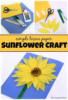 Simple & Colorful Tissue Paper Sunflower Craft for Kids! A fun flower craft for toddlers and preschoolers