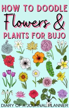 Get doodling with our ultimate guide to flower and plant doodles, to make your bullet journal spreads look incredible! Easy Flower Drawings, Easy Doodles Drawings, Easy Doodle Art, Cool Doodles, Doodle Ideas, Simple Doodles, Doodle Flowers, Flower Doodles, Bullet Journal Spread