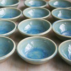 Small Ceramic Bowl - Blue Kitchen Prep Bowl in Sea Glass Blue Glaze with Small Blue Flecks Stoneware Pottery Ready to Ship Made in USA