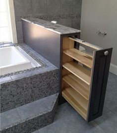 bathroom storage ideas - Re-organize your towels and toiletries during your next round of spring cleaning. Check out some of the best small bathroom storage ideas for Diy Casa, Bathroom Renos, Bathroom Remodeling, Remodel Bathroom, Bathroom Furniture, Bathroom Vanities, Bathroom Cabinets, Bathroom Interior, Bathroom Towels