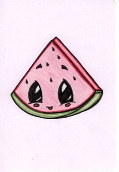 # watermelon cartoon SPRING SALE Cute # Watermelon slice- Drawing Every drawing is mad Cute Food Drawings, Cute Cartoon Drawings, Cute Kawaii Drawings, Cool Art Drawings, Disney Drawings, Cartoon Art, Animal Drawings, Cartoon Illustrations, Simple Cute Drawings