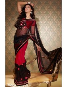 Black & Red Honeycomb Net Saree