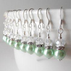 Bridesmaid Earrings Mint Green Pearl Earrings in Silver Mint Wedding Jewelry Beaded Dangles Handmade Spring Weddings. $12.00, via Etsy.