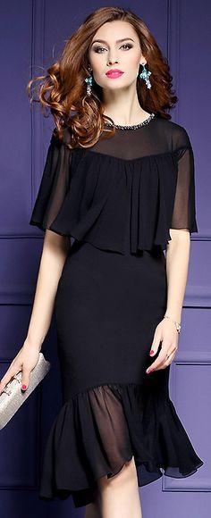 Elegant Pure Color Stitching Bodycon Dress