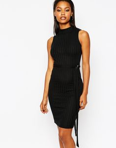 Boohoo Ribbed Fine Knit Bodyon Dress With Belt