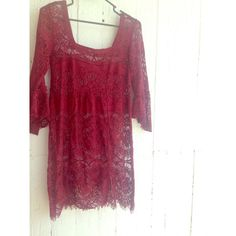 FREE PEOPLE maroon dress ❤️ the most beautiful slip dress from free people! shown here with a black slip that can be included in purchase of specified! bought on poshmark and worn once in this photo... a statement piece that I don't think I'll have the opportunity to wear again!. size is XS and fits like a small to medium! reasonable offers accepted! Free People Dresses Midi