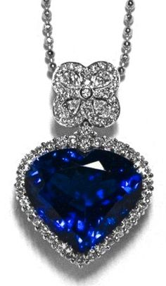 Heart Blue Sapphire & Diamond Pendant