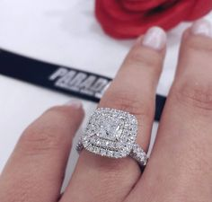 wedding bands Diamond Engagement Ring Princess Solitaire Wedding Band White Gold Over Engagement Rings Princess, Dream Engagement Rings, Wedding Rings Solitaire, Wedding Rings Vintage, Bridal Rings, Wedding Jewelry, Double Halo Engagement Ring, Engagement Bands, Solitaire Engagement