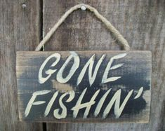 I'd rather be fishing sign wood wall decor by KristynsKraftyness