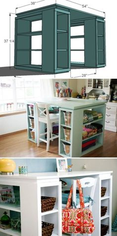 Craft Table-you could use storage units for each corner too.