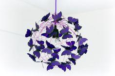 """Lampe avec papillons violet """"Purple rain"""""""