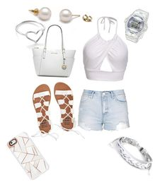 """white"" by shayshayv ❤ liked on Polyvore featuring Topshop, Billabong, Michael Kors, West Coast Jewelry, Jordan Askill, Baby-G and Casetify"