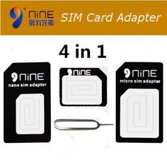 R, NINE 4 in 1 Acrylic SIM Card Adapters For iPhone 4s/6s Micro+Standard+Nano SI