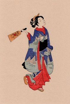 """This work is """"Battledore and shuttlecock"""" of """"Harunobu Suzuki""""."""