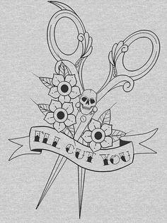"'Hairdresser skull scissors ""I'll cut you""' T-Shirt by msbdesigns Cosmetology Tattoos, Hairdresser Tattoos, Hairstylist Tattoos, Unicorn Tattoos, Skull Tattoos, Life Tattoos, Sleeve Tattoos, Scissors Tattoo, Hair Scissors"