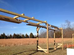 Side view of the new Monkey Bars with the Unstable Bridge attached.