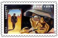 """Stamp featuring John Wayne: A tribute to director John Ford and the Western of all time: """"The Searchers"""" with the iconic image of John Wayne's Ethan Edwards walking away at the end of the film. Monument Valley can be seen in the background of the image. Stanley Kubrick, Alfred Hitchcock, Famous Movie Directors, Commemorative Stamps, Fritz Lang, John Ford, The Expendables, John Wayne, Great Films"""