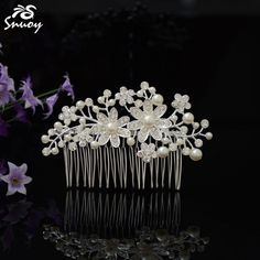 Find More Hair Jewelry Information about Snuoy 2018 Luxury Silver Elegant Pearl Bud Flower Hair Comb Crystal Rhinestone Bridal Pageant Party Event Hair Accessories,High Quality flower hair comb,China rhinestone bridal Suppliers, Cheap hair comb from FF Wedding Store on Aliexpress.com