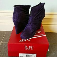 Impo Wedge Booties Grape/Purple textile upper, brand new, never been worn, with original box. Purchased from Macy's. Fun little bootie. Perfect for adding a pop of color to your outfit! iMpo Shoes Ankle Boots & Booties