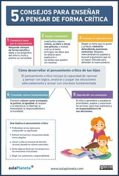 """Hola: Compartimos una interesante infografía sobre """"Pensamiento Crítico - 5 Recomendaciones para Fomentarlo entre tus Alumnos"""" Un gran saludo."""