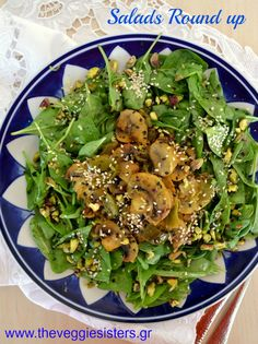 I am sharing with you an easy, light and amazing spinach salad. Baby spinach with lemony baked mushrooms topped with sesame seeds and pistachios! What a yummy healthy salad is that Baked Mushrooms, Stuffed Mushrooms, Spinach Salad, Salad Bar, Appetisers, Healthy Salads, Seaweed Salad, Salmon Burgers, Side Dishes