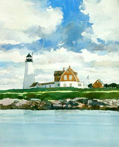 "Bill Vrscak / Wood Island Light   Watercolor   18"" x 24"""