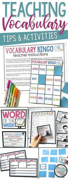 Looking for inspiration to liven up your vocabulary instruction? Check out these tips and activities from Presto Plans for teaching vocabulary in the middle and high school English classroom! Vocabulary Instruction, Teaching Vocabulary, Vocabulary Activities, Teaching Tips, Vocabulary Exercises, Vocabulary Strategies, Listening Activities, Spelling Activities, Reading Strategies