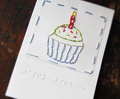 Braille Happy Birthday Cupcake Card