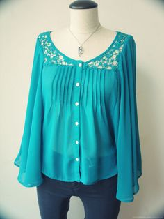 Turquoise Button Down Shirt With Lace Collar