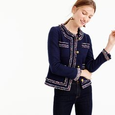 Petite lady jacket with Liberty® trim : Women outerwear & blazers Blazers For Women, Jackets For Women, Clothes For Women, Women's Blazers, Women's Jackets, Chanel Style Jacket, Boucle Jacket, Basic Outfits, Celebrity Outfits